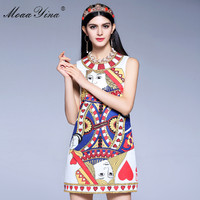MoaaYina Fashion Designer Runway Mini Dress Summer Women Sleeveless Jacquard Playing Cards Beaded Sequins Sexy Retro