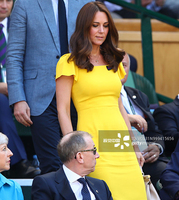 Kate Middleton Princess Yellow Solid Dress Elegant Women Butterfly Sleeve Dresses 4XL 780MP