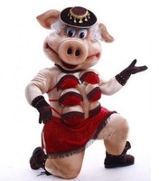 ohlees Puppets Striptease Strip Pig Swinish Mascot Costume Adult Halloween Cartoon Party Outfits Fancy Dress Free Shipping