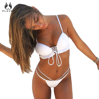 PLAVKY 2018 Sexy White Push Up Lace Biquini Ruffled Strappy Bandage Swim Wear Bathing Suit Swimsuit Thong Swimwear Women Bikini