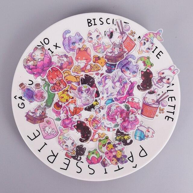 100 unids/lote dibujos animados lindo unicornio chica etiqueta engomada de papel de decoración DIY álbum de recortes de diario etiqueta papelería de kawaii