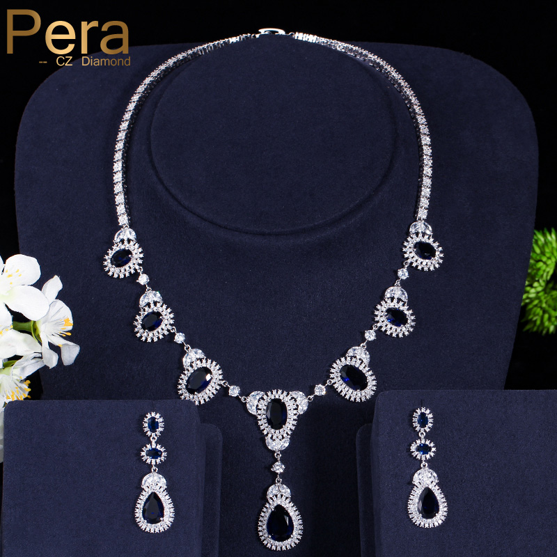 Pera CZ Elegant Big Royal Cubic Zirconia Stone Design Women Party Classic Long Waterdrop Necklace And Earrings Jewelry Set J152 pera newest big vintage hollow out design yellow cubic zircon round drop pendant necklace and earrings set for luxury women j199