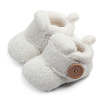 Lovely Hookloop Design Boy Girls Toddler First Walkers Baby Shoes Round Toe Flats Soft Slippers Shoes winter Baby Warm Shoes