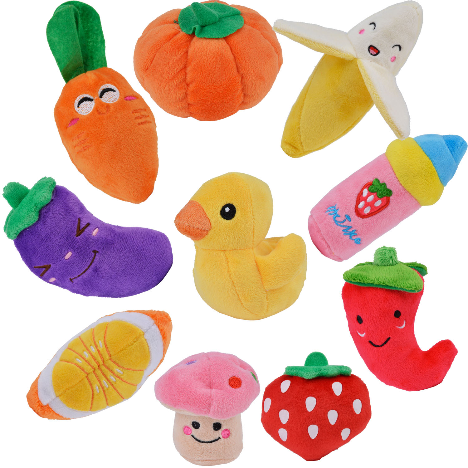 10Pcs Pet Squeaky Toys Vegetable Fruits Cartoon Sound Chew Plush Toy Pet Toys for Dogs Puppy in Dog Toys from Home Garden