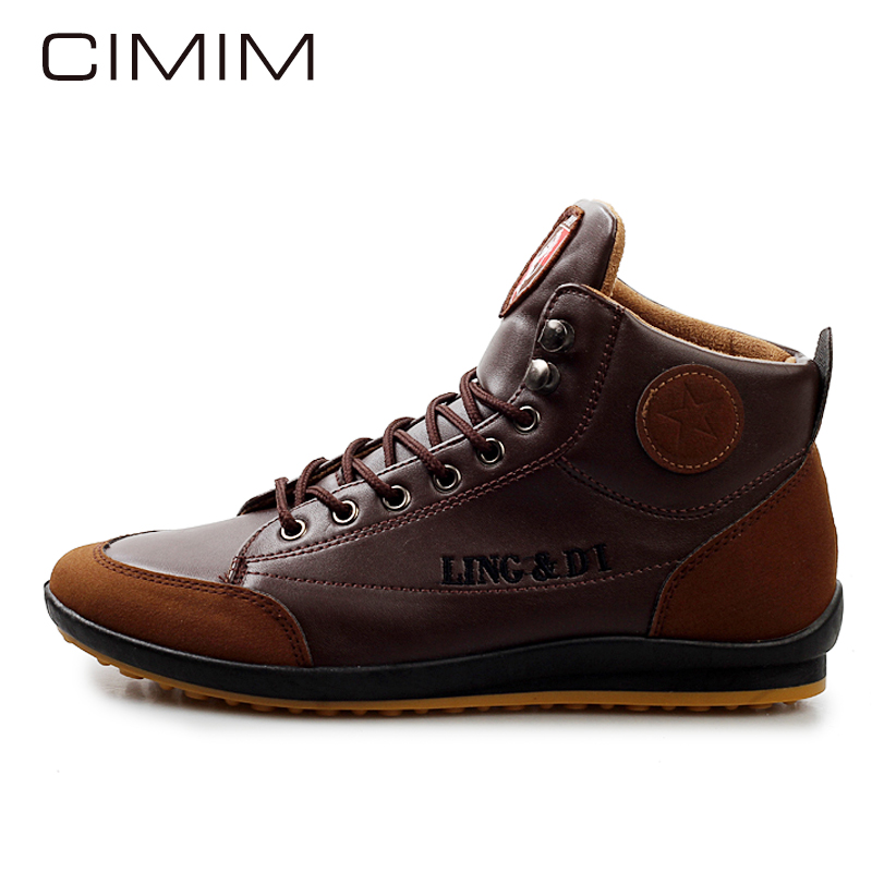 CIMIM Mens Boots Casual Fashion Autumn Winter Outdoors Flats Men Lace Up Snow Boots Botas Hombre Mens Shoes Ankle Boots Sapatos men suede genuine leather boots men vintage ankle boot shoes lace up casual spring autumn mens shoes 2017 new fashion