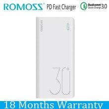 Romoss PD Мощность Bank 30000 мАч QC 3,0 Quick Charge Мощность bank 30000 мАч 9 V 2 A 12 В 1.5A для iPhone х Xiaomi Mi8 samsung S9 Nexus 6p