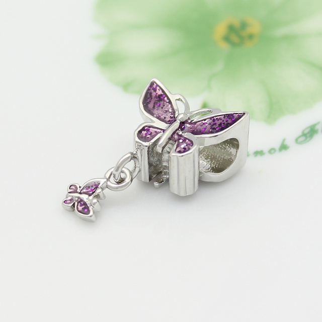 Perles en forme de papillon violet, perles en glissière, breloque en forme de pandora, bracelets authentiques, fabrication de bijoux, cadeaux de la saint-valentin