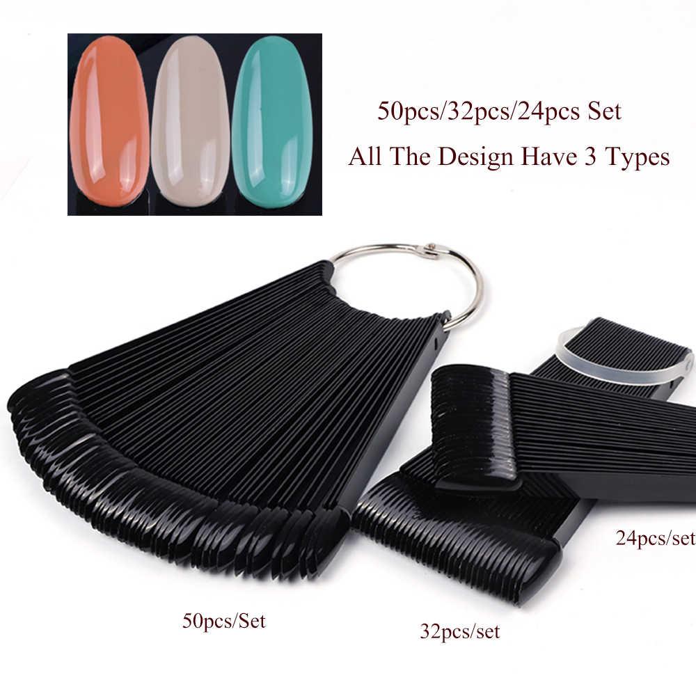 1 Набор накладных насадок для дизайна ногтей, цветные накладные ногти на всю карту, круглые натуральные прозрачные накладные ногти для гель-лака, маникюрный веер, инструмент для практики, CHA23
