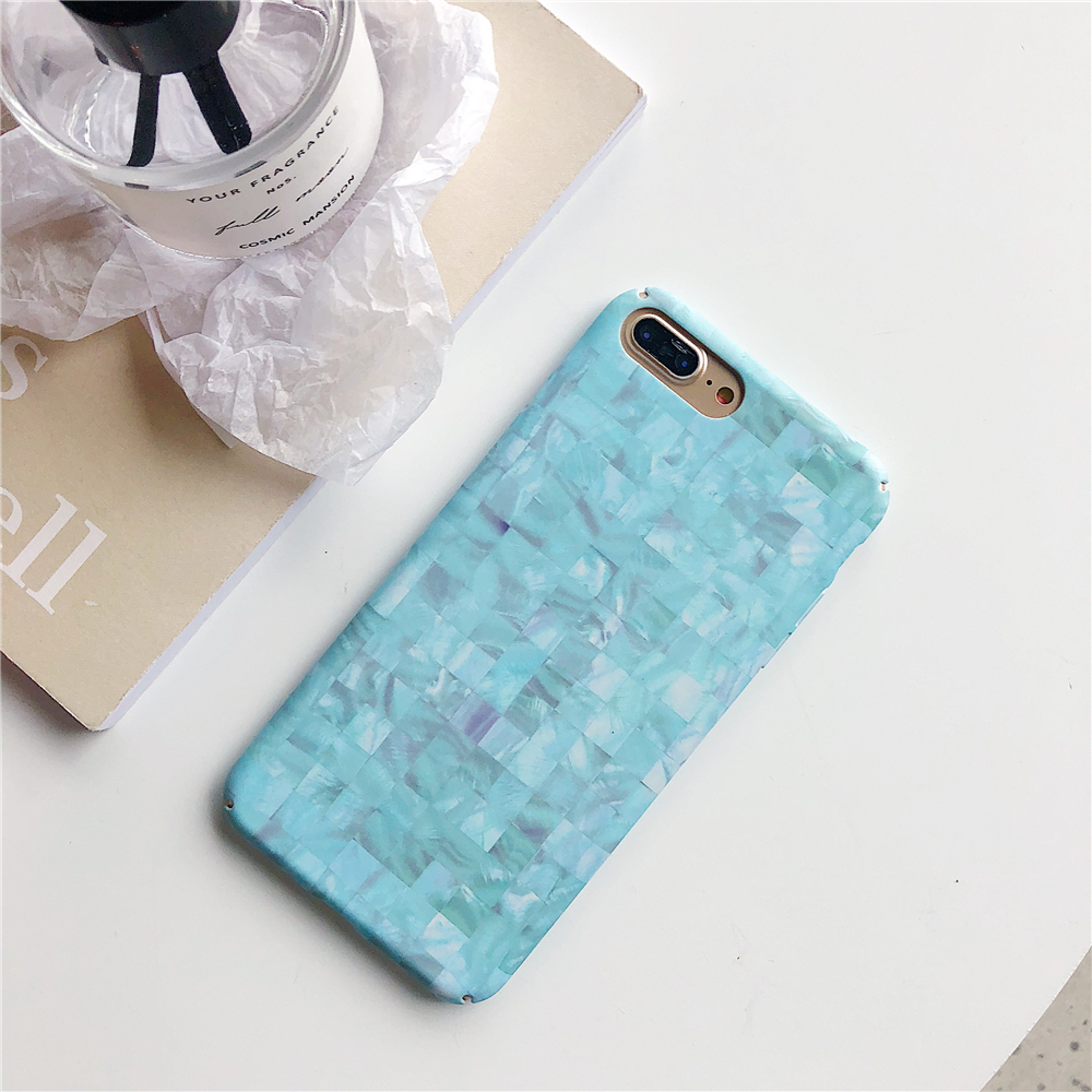 Candy colors Lattice Texture Marble Cases for iPhone 8 Hard Ultra-thin Matte Back Cover Capa for iPhone 8 Plus Fresh Phone Case