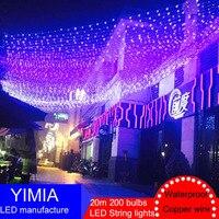 20 m 200 LED מחרוזת פיית אורות חג המולד חיצוני אורות שנה החדשה Guirlande Lumineuse זרי קישוטי גינת מסיבת חתונה