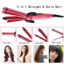 4 in 1 Professional New 110~220V Ceramic Electronic Curling & Straightening Hair Dual-use Hair Straighteners Tools
