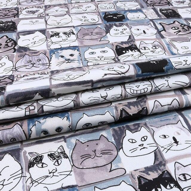 Nanchuang Gato Tecido Estofos Em Tecido de Lona de Algodão de Pato Para Travesseiro DIY Saco de Sapatos Almofada Toalha de mesa Material de Casa Decration