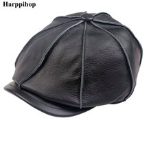 Boys casual genuine leather hat genuine leather cowhide male cap octagonal cap painter cap winter warm hat