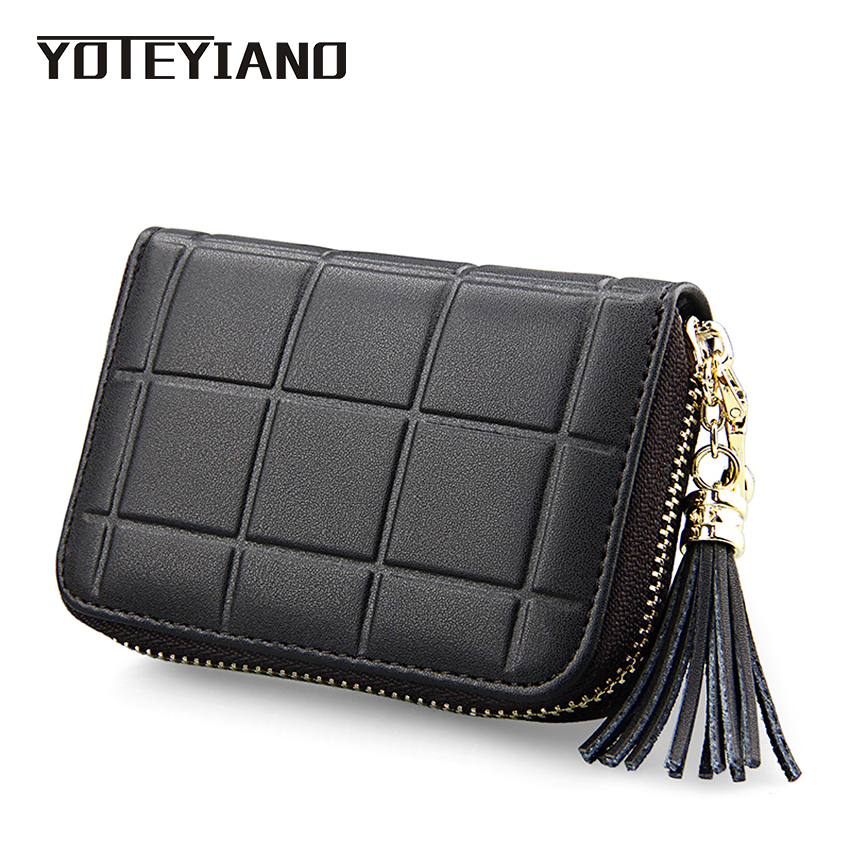 YOTEYIANO Business Card Holders Womens Genuine Leather Credit ID Card Case RFID Mini Multifunctional Wallet Zipper Coin Purse