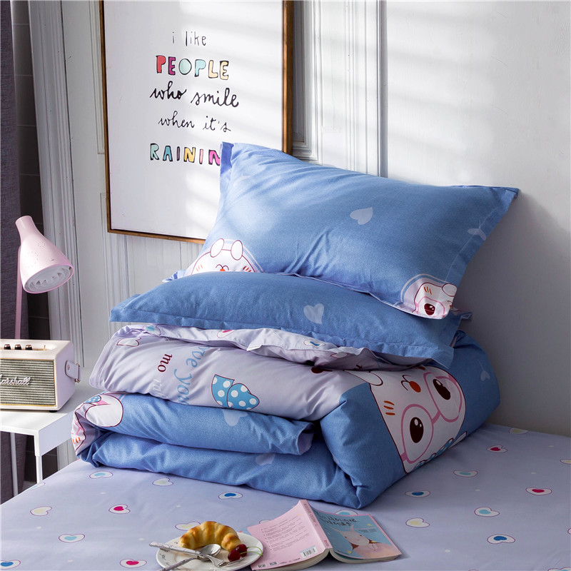 Image 5 - ParkShin Cartoon Bedding Set Rabbit Bedspread Blue Bed Flat Sheet Double Queen King Bedclothes Home Textiles Duvet Cover Set-in Bedding Sets from Home & Garden