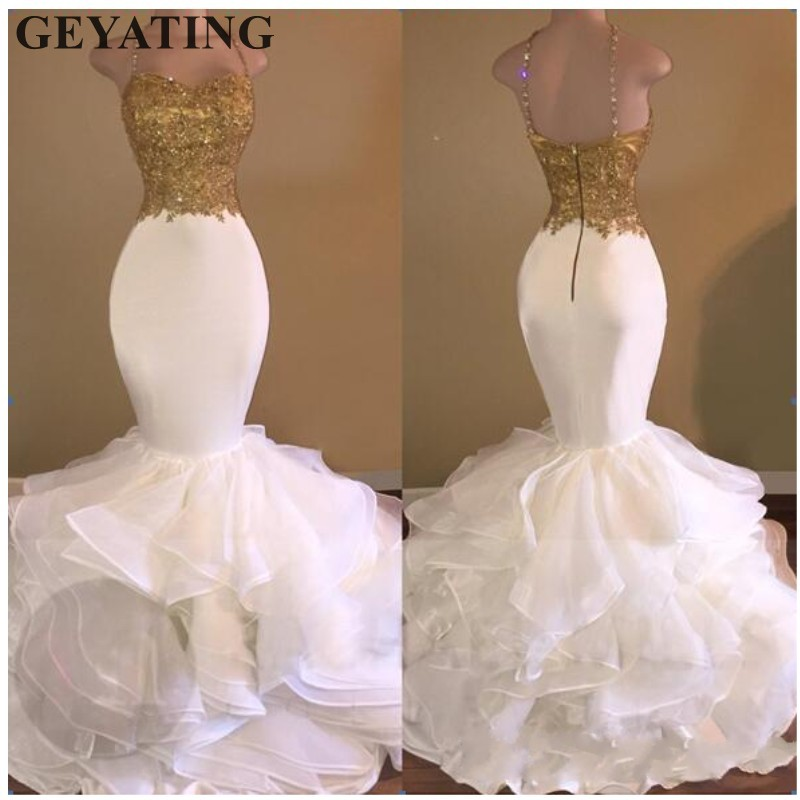 bc653a5c0d6 Sexy White Mermaid African Prom Dresses 2019 Spaghetti Straps Gold Lace  Appliques Ruffles Tiered Black Girls Evening Party Dress