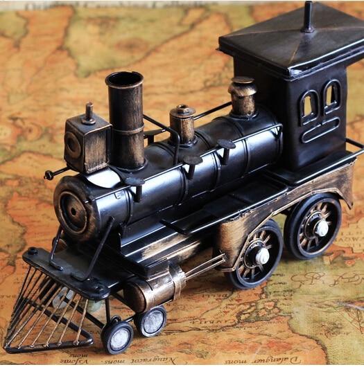 kids children class toys Vintage Style Retro Jalopy Metal Steam Train Model Dark Black Train Puffpuff Home Decoration