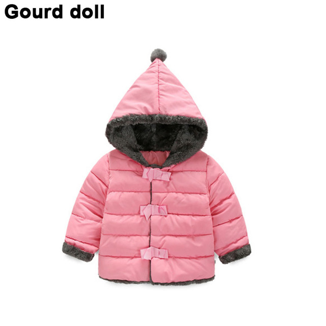 2016 Baby girls winter clothing Suitable 13-24 months thicken down cotton snow wear kid overalls jacket infant down & parkas