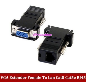 New VGA Extender Female To Lan Cat5 Cat5e RJ45 Ethernet Female Adapter Freeshipping by DHL/EMS