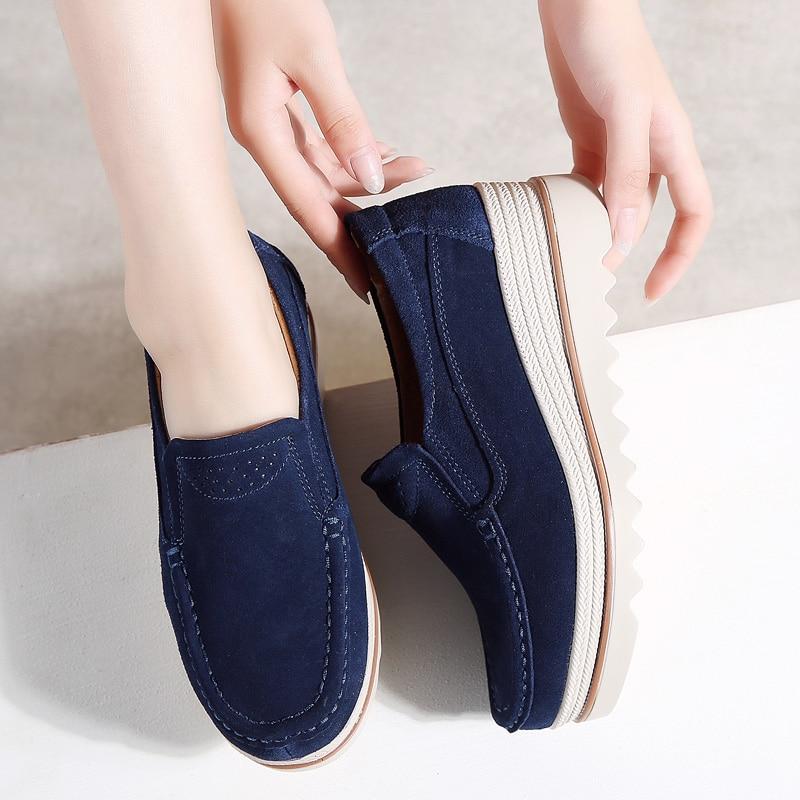 2018 Cuir forme Plate Glissement Femmes Creepers Qiyhong Sneakers gris Chaussures noir Talons bleu Beige Daim En Automne Casual Appartements Mocassins Sur 4zqdw