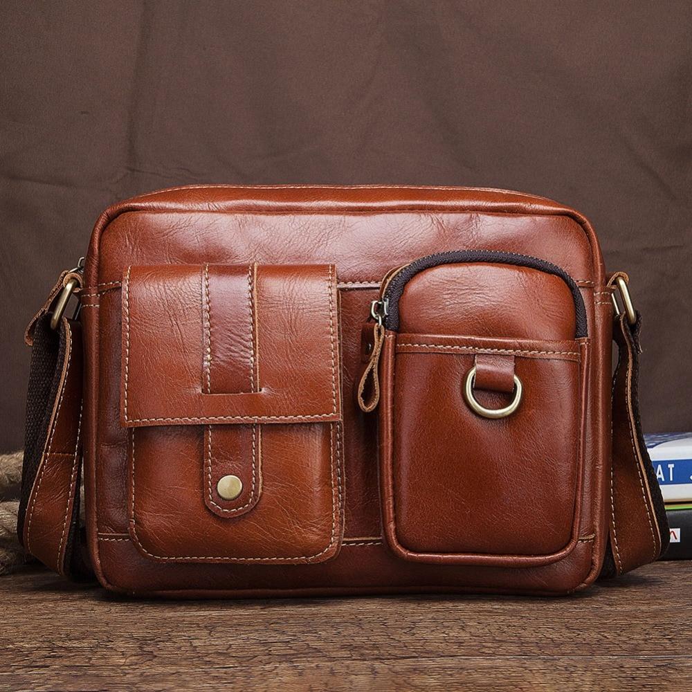 Messenger Bag Men Cow Genuine Leather Soft Shoulder Bags Business Crossbody Bag Cowhide Sling Crazy Horser