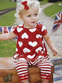 Retail Red Kids Set Baby Suit 2013 Girls Love Heart Top + Stripe Pant the Children's Clothing Set Toddler Clothes Infant Outwear