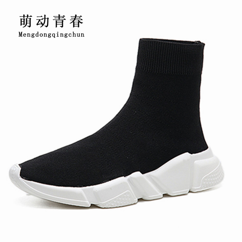 2018 Women Boots Fashion Round Toe Stretch Fabrics Elastic Boots Women Flat Heels Autumn Sock Boots Wedges Boots Plus Size 35-43 black round toe side zippers heavy bottomed increased inner 12 cm slope heels naked boots discount women fashion wedges booties