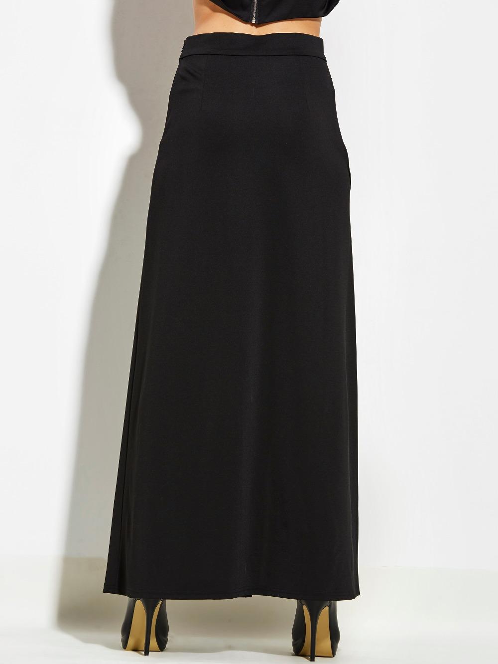 4e158f40db4 Kinikiss XL High Waist Pleat Elegant maxi skirts side split skirt Long  Women Faldas Saia Plus Size Ladies Jupe Black Skirts