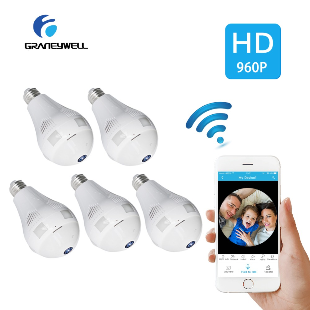 5 PCS 960P HD Wireless IP Camera Bulb Light FishEye Smart Home Security CCTV 3D VR Camera Home Security WiFi Camera Panoramic oem glove box storage compartment light lamp for vw golf jetta mk4 bora 1j0 947 301 1j0947301