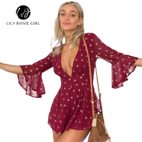 Summer Style Elegant Gilding Cherry Chiffon Red Overall Romper Short Beach Playsuit Women Sexy Deep V