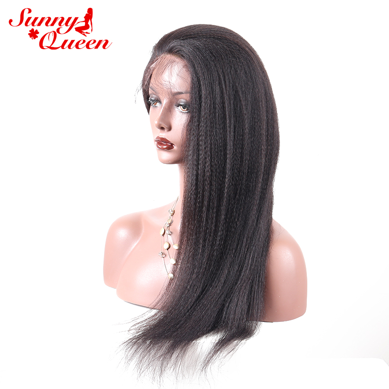 Italian Yaki Straight 180% Density Brazilian Full Lace Human Hair Wigs Pre Plucked With Baby Hair Remy Nature Color Sunny Queen