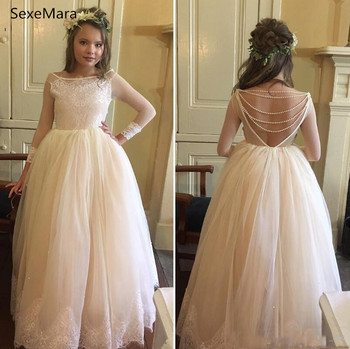 Lovely White Ivory Flower Girls Dresses For Weddings Scoop Lace Pearls Backless Princess Children Birthday Party Dresses