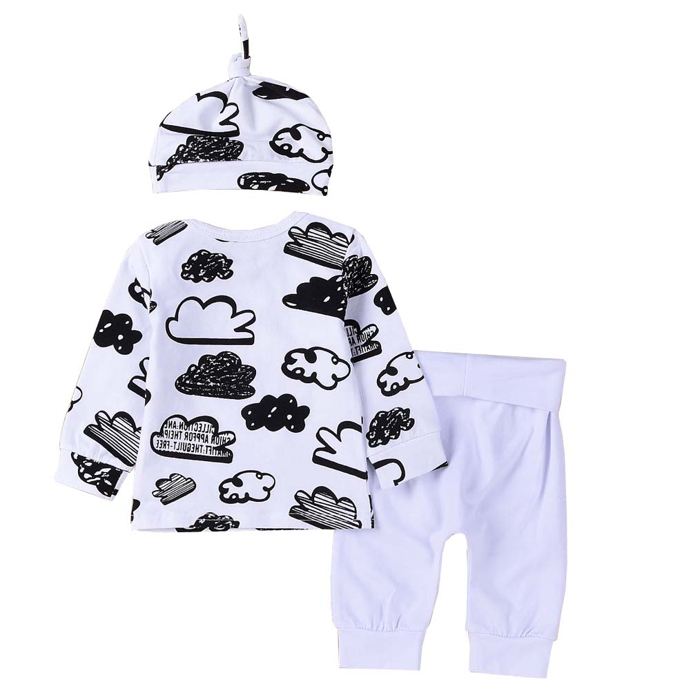 Autumn Baby Boy Girls Clothes Kids Cotton Cloud Printed T Shirt White Pants Hat 3pcs Suit Infant Cute Sleepwear Outfits