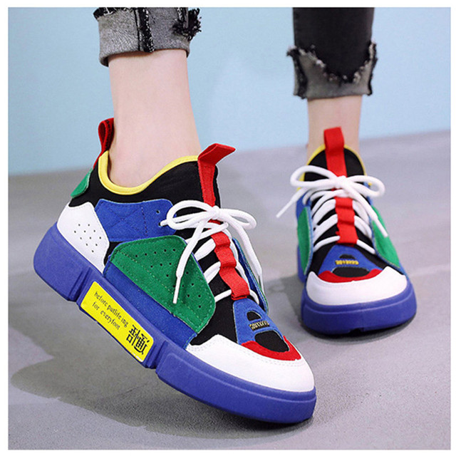 SWYIVY Woman Vulcanize Platform Autumn 2018 Breathable Sneaker Shoes Woman  Color Block Thick Bottom Lady Casual af3fd636badf
