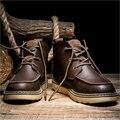 AD AcolorDay Martins botas para la Nieve Botas de Cuero Del Tobillo Botas Los Hombres de Moda constante Botas Para Hombre Casual Lace Up Otoño Invierno Zapatos de Madera hombres