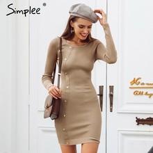 92858170d Simplee remache negro vestido de Jersey de punto Casual o Jersey cuello vestido  sexy vestido de mujer vestido de otoño invierno .