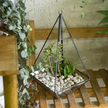 Handmade Succulent Flower Pot Box Indoor Outdoor Bottle Glass Planter Miniature Landscape Bonsai Pyramid Geometric Terrarium