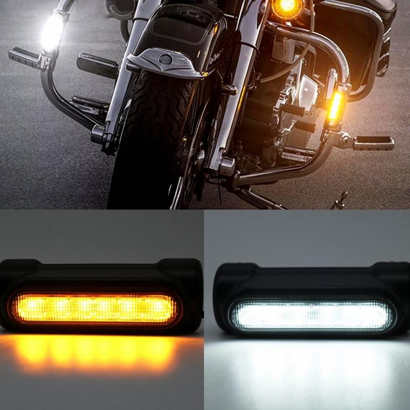 Motorcycle Highway Bar Switchback Turn Signal Light White