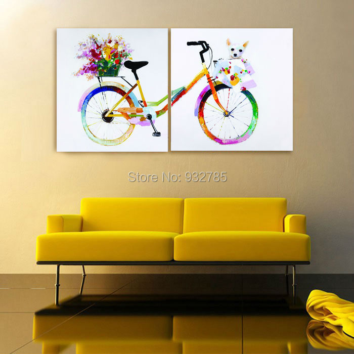 Hand Painted Colorful Bicycle Shopping Wall Art Oil Painting On ...