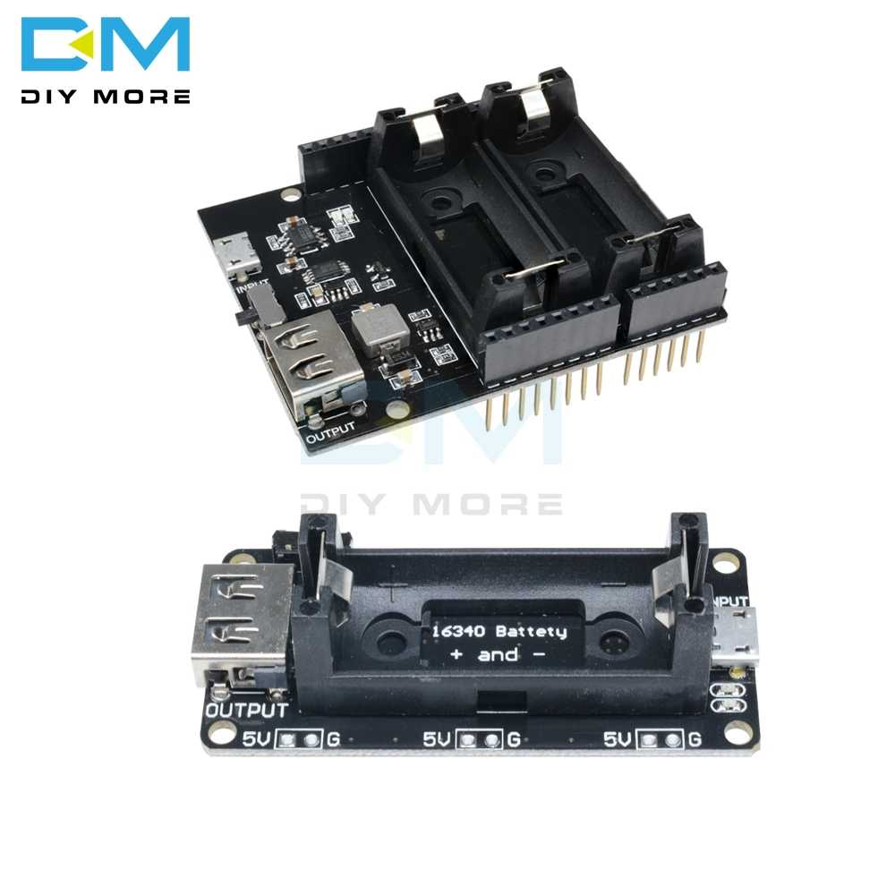 ESP8266 ESP32 Dual 16340 lithium Battery Module USB Mobile Power Bank Battery Holder Charger Board Module For Arduino UNO R3