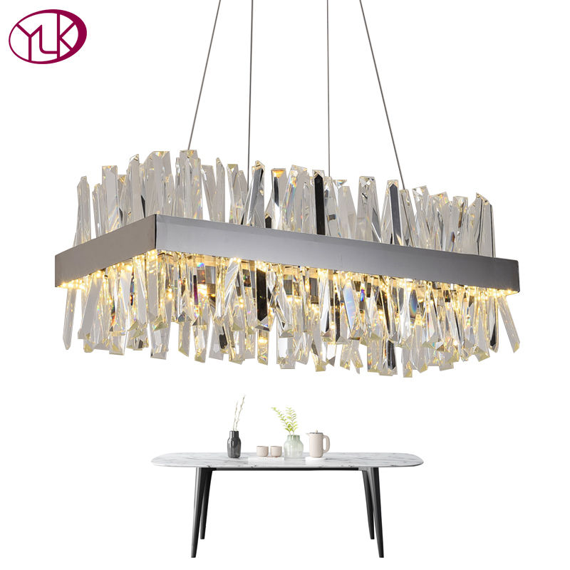 Youlaike Modern Crystal Chandelier For Dining Room Rectangle Design Kitchen Island Lighting Fixtures Chrome LED Cristal LustreYoulaike Modern Crystal Chandelier For Dining Room Rectangle Design Kitchen Island Lighting Fixtures Chrome LED Cristal Lustre