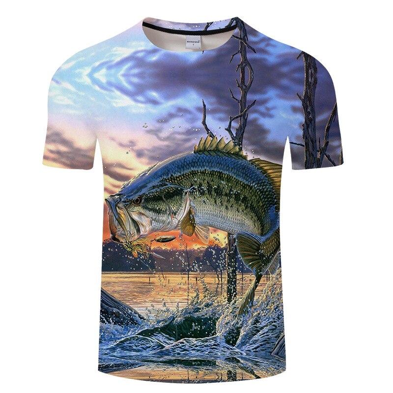 2018 nuevos hombres de ocio 3d impresión t camisa divertido peces impresos hombres y mujeres camiseta Hip hop camiseta Harajuku tamaño asiático s-6xl