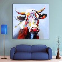 Wall Art Ręcznie Malowane Cartoon Bydło Nowoczesne Zwierząt Obraz Olejny Ściany Dekoracyjne Płótno Obraz do salonu Wystrój Domu