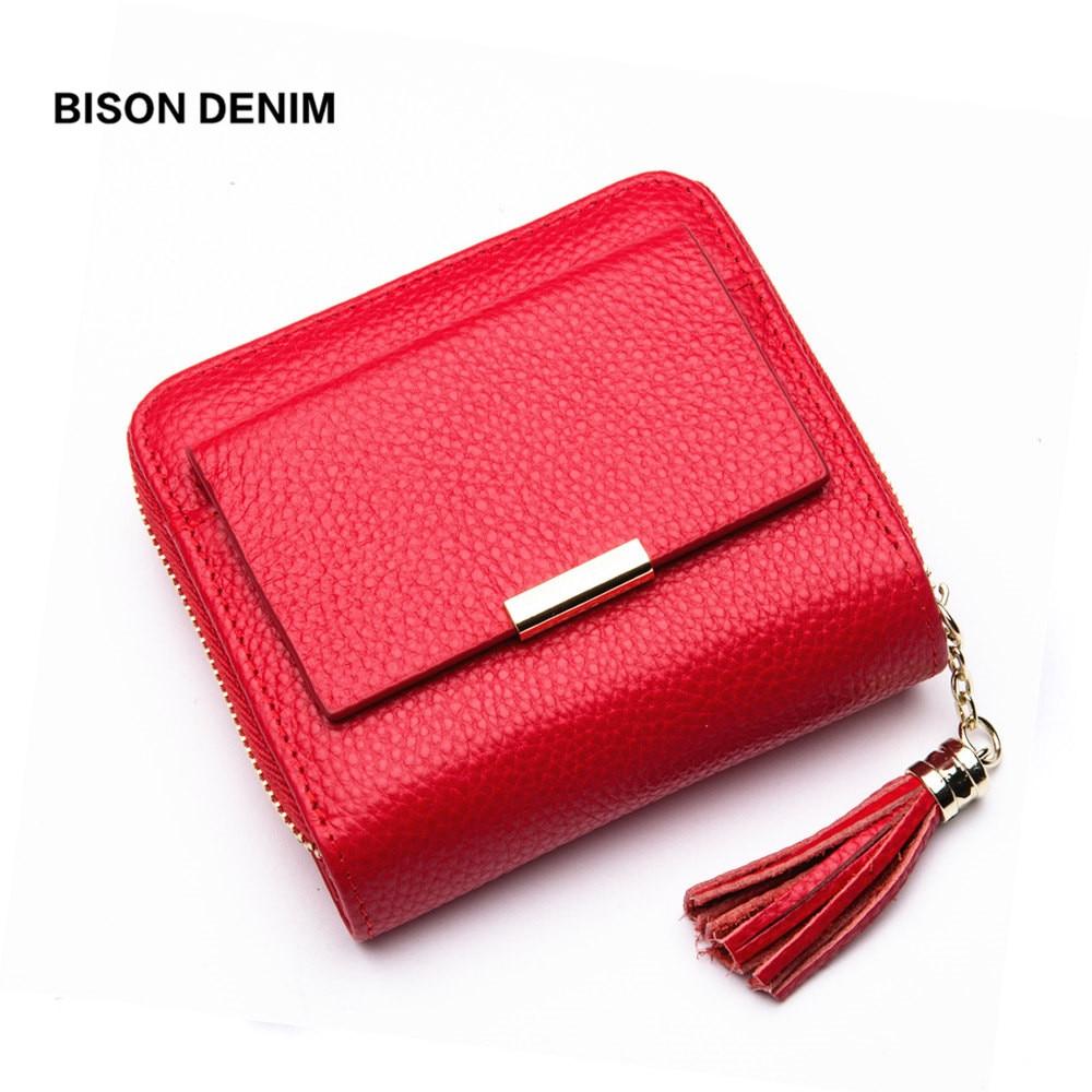 BISON DENIM Leather Women Wallet Zipper Purse Coin Pocket Wallet Cowhide Female Short Card Holder Carteira Feminina B3276