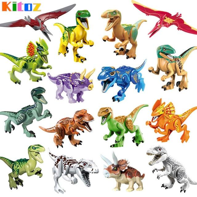 16 Unid dinosaurio Jurásico del juguete del bloque hueco Indoraptor ...