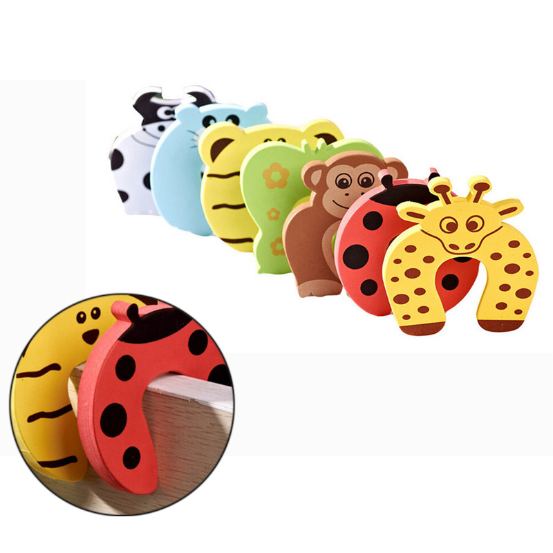 Baby Safety Foam Door Jammer Guard Finger Protector Stoppers with Animal Prints