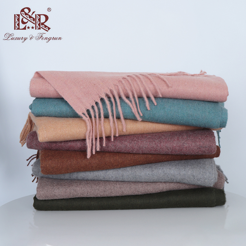 2018 Real Cashmere Winter Women Scarf Luxury Brand Wool Female Scarves Solid Foulard Women Pashmina Shawl Femme Echarpe Sjaal