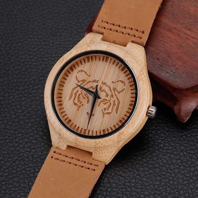 2017 Steampunk Nature Wood Watch Wzór głowy Tiger Zegarek z - Męskie zegarki - Zdjęcie 5