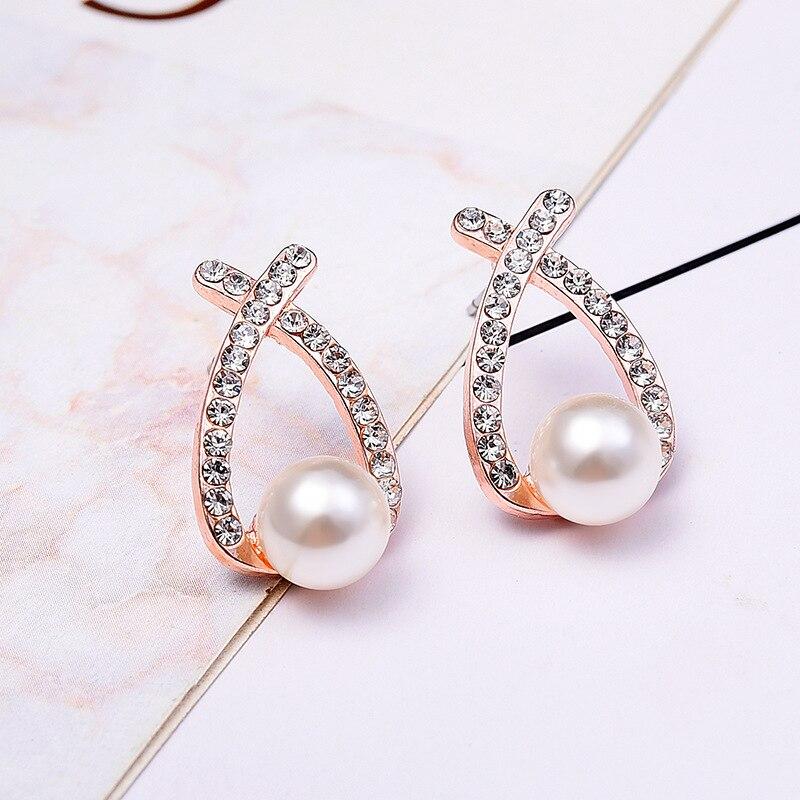 2019 Fashion Gold Silver Pearl Stud Earrings Cross Crystal Earrings for Women Jewelry gold earrings for women
