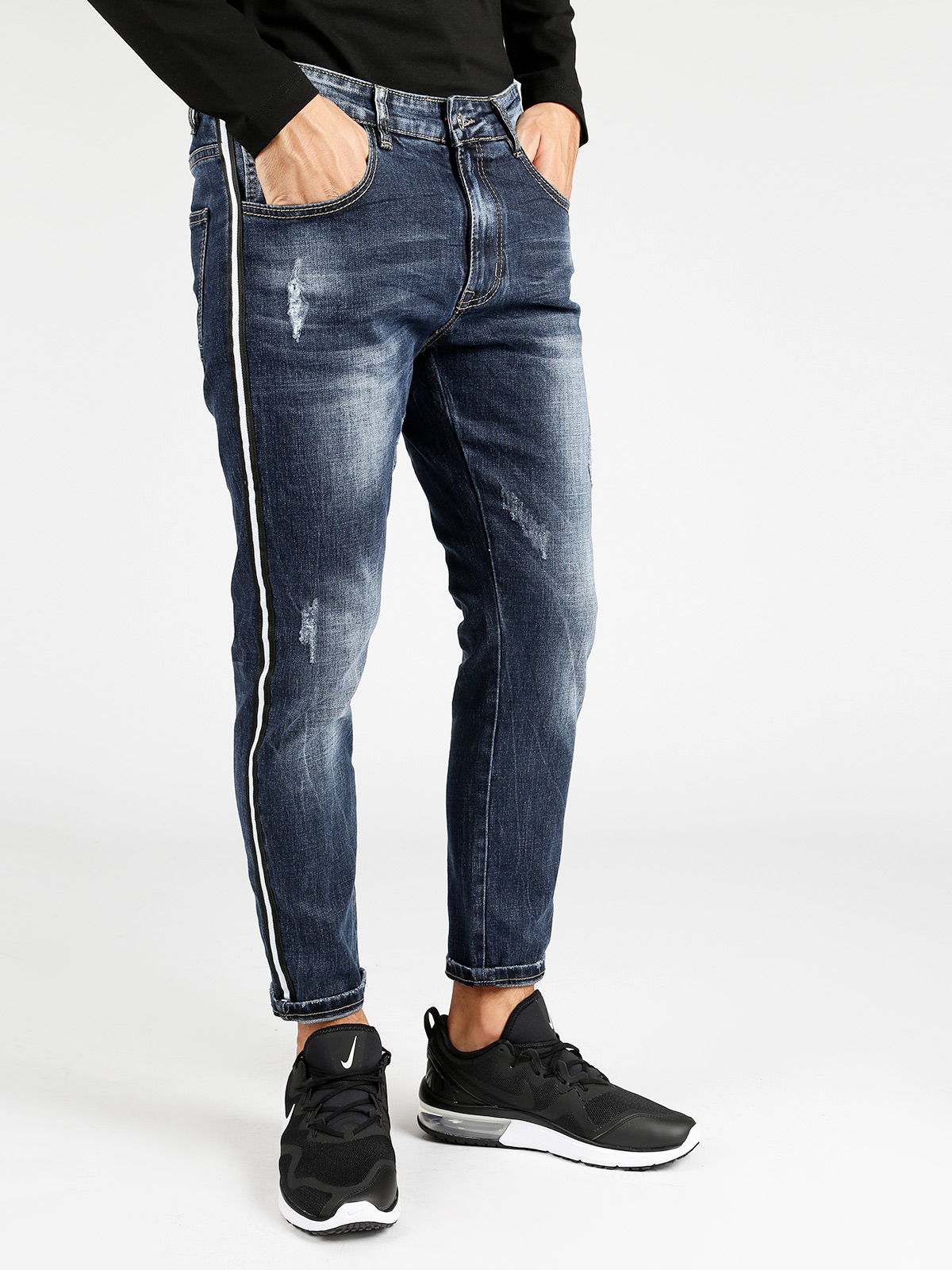 Jeans With Side Stripes And Tearing